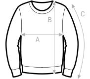 A = Brustumfang, B = Gesamtlänge, C = Ärmellänge